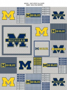 College Grey University of Michigan Wolverines Grey Patchwork Print Fleece Fabric Print By the Yard