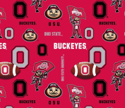 OHIO STATE FLEECE FABRIC-OHIO STATE BUCKEYES FLEECE FABRIC-FOOTBALL DESIGN-SOLD BY THE YARD