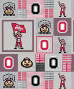 College Ohio State University Buckeyes Grey Patchwork Fleece Fabric Print by the Yard
