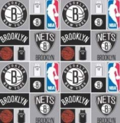 Cotton NBA Brooklyn Nets Basketball Sports Team Print Cotton Fabric by the yard