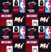 Cotton NBA Miami Heat Basketball Sports Team Print Cotton Fabric by the yard