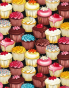 Cotton Multicoloured Cupcakes Cupcake Cup Cake Cakes Black Cotton Fabric Print by the yard