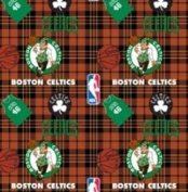 NBA Boston Celtics Plaid Basketball Sports Team Fleece Fabric Print by the yard