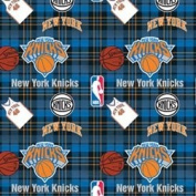 NBA New York Knicks Plaid Basketball Sports Team Fleece Fabric Print by the yard