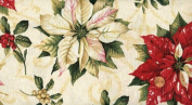 'Tis the Season' Poinsettias on Extra-Wide Ivory Cotton Fabric By the Yard