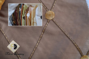 Remington - Embroidered Taffeta Fabric with Diamond Pattern, Colour Bisquit, 150cm , Sold By the Yard