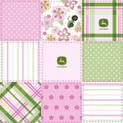 John Deere Floral Madras Patch Fabric by The Yard, 2.5cm Wide, Pink