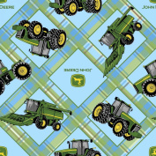 John Deere Plaid on Patch Fabric by The Yard, 2.5cm Wide, Light Blue