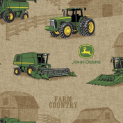 John Deere Tractor Scenic Fabric by The Yard, 2.5cm Wide, Brown