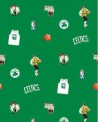 NBA Boston Celtics Green Basketball Print Fleece Fabric by the yard