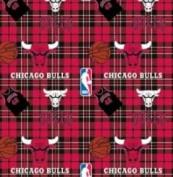 NBA Chicago Bulls Plaid Basketball Sports Team Fleece Fabric Print by the yard