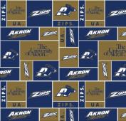 University of Akron Super Soft Collegiate Classic Fleece Geometric-AKRON fleece fabric