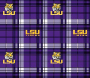 College Plaid LSU Louisiana State University Fleece Fabric Print By the Yard