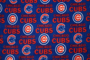 MLB Chicago Cubs Blue Baseball Print Fleece Fabric By the Yard