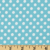 Riley Blake Cotton Jersey Knit Small Dots Aqua Fabric