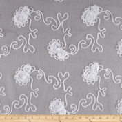 Bella Sheer Lace Rosette White Fabric