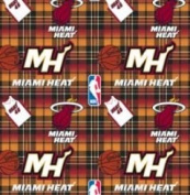 NBA Miami Heat Plaid Basketball Sports Team Fleece Fabric Print by the yard