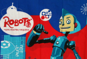 """ROBOTS the Movie """"ARE WE ROBOTS OR ARE WE JUNK."""" Fabric Panel RODNEY COPPERBOTTOM (Great For Quilting, Sewing, Craft Projects, Wall Hangings, and More) 90cm x 110cm"""