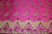 Fuchsia- Elegant Paisley Design Embroidery Lace with Double Side Border and Sequins on Mesh