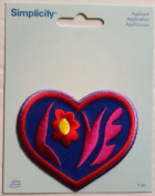 Whimsical Love Heart Appliqué ~ Iron-on ~ Dimensional ~ 7.6cm X 7cm Simplicity