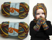 1 X 50g50ml Sportsragg Double Knitting Yarn By Viking Garn #559 Blue- Yellow - Bordo - Green