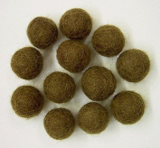 Felted Wool Beads- Package of Twelve 1.3cm Diameter Brown