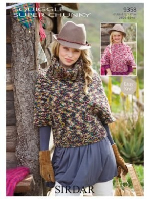 """Sirdar Knitting Patterns Squiggle Super Chunky #9358 / 61/66-112/117cm 24/26-44/46"""""""
