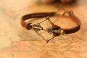Bow with Arrow Bracelet,retro Bronze Bow with Arrow Pendant Bracelet,best Gift for Your Friend and Lover,fashion,brown Rope Bracelet