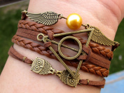 Harry Potter Bracelet Brass Owls Deathly Hallows and Snitch Bracelet Brown Leather Braid and Rope Bracelet