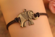 Elephant Bracelet,retro Bronze Lovely Elephant Pendant Bracelet,brown True Leather Bracelet
