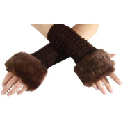 NSSTAR Winter Soft and Warm Knitting Long Sleeve Arm Warmer Fingerless Gloves with Thumb Slot Hole Christmas Gift