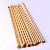 Ostart 12 Sizes 6'' (15cm) Carbonised Bamboo Crochet Knitting Hooks Set Needles Kit