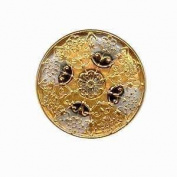 Nirvana Beads Czech Glass Buttons, 147 - Cross Silver-Gold 32 mm
