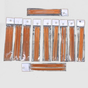 Ostart 5 Sets of 11 Sizes 5'' (13cm) Double Pointed Carbonised Bamboo Knitting Kits Needles Set