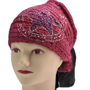 Horse Shoes With Star Crochet Knit Head-wrap Winter Headband Ear Warmer Hair Muffs Band-PINK