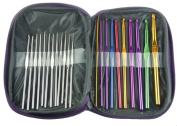 HotEnergy 22pcs Mixed Aluminium Handle Crochet Hook Knitting Knit Needle Weave Yarn Set USA ship