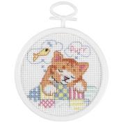 Janlynn Dreaming Kitty Mini Counted Cross Stitch Kit