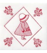 Stamped White Quilt Blocks 23cm x 23cm 12/Pkg-Sunbonnet Sue