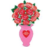 Valentine Rose Vase 150cm Mylar Balloon