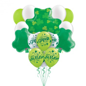 Happy St Patrick's Day Get Your Green On Shamrocks 16pc Balloons Pack - Party Decorating