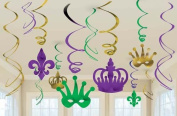 Mardi Gras Foil Swirl Decoration Value Pack 12pc