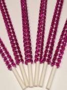"""Hot Pink/Fushia bling cake pop sticks, rhinestone cake pop sticks, candy buffet sticks, bling lollipop sticks 6"""" 15.2 Cm - 12 Ct Set"""