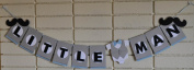 Little Man Banner with Moustache and Bow for Birthday Boy