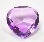 Beautiful Heart Birthstones Paperweight Glass Diamond 80mm Crystal, Purple