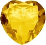 Beautiful Heart Birthstones Paperweight Glass Diamond 80mm Crystal, Yeloow