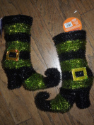 Foil Covered Wire Witches Boots (1 Pair Multi Colour Boots) .Green or Orange or Purple..(description Tells Colour You Are Ordering)_
