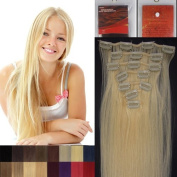 L-email 50cm 7pcs Straight Remy Clip in Real Human Hair Extensions #613 Bleach Blonde Personal Healthcare / Health Care