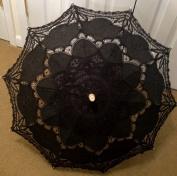 Black Lace Parasol Victorian Battenburg Sun Umbrella for Bridal Party Wedding Decoration Photography Props