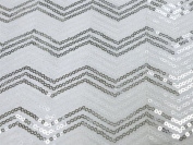 140cm x 4 yards Silver White SEQUINS Chevron Pattern Fabric BOLT Sewing Put-up