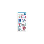 Stars & Stripes Doodles Cardstock Stickers 7.6cm x 17cm Sheet-Seals